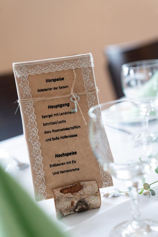 Speisekarte Detailfotos bei Hochzeit in Visbek
