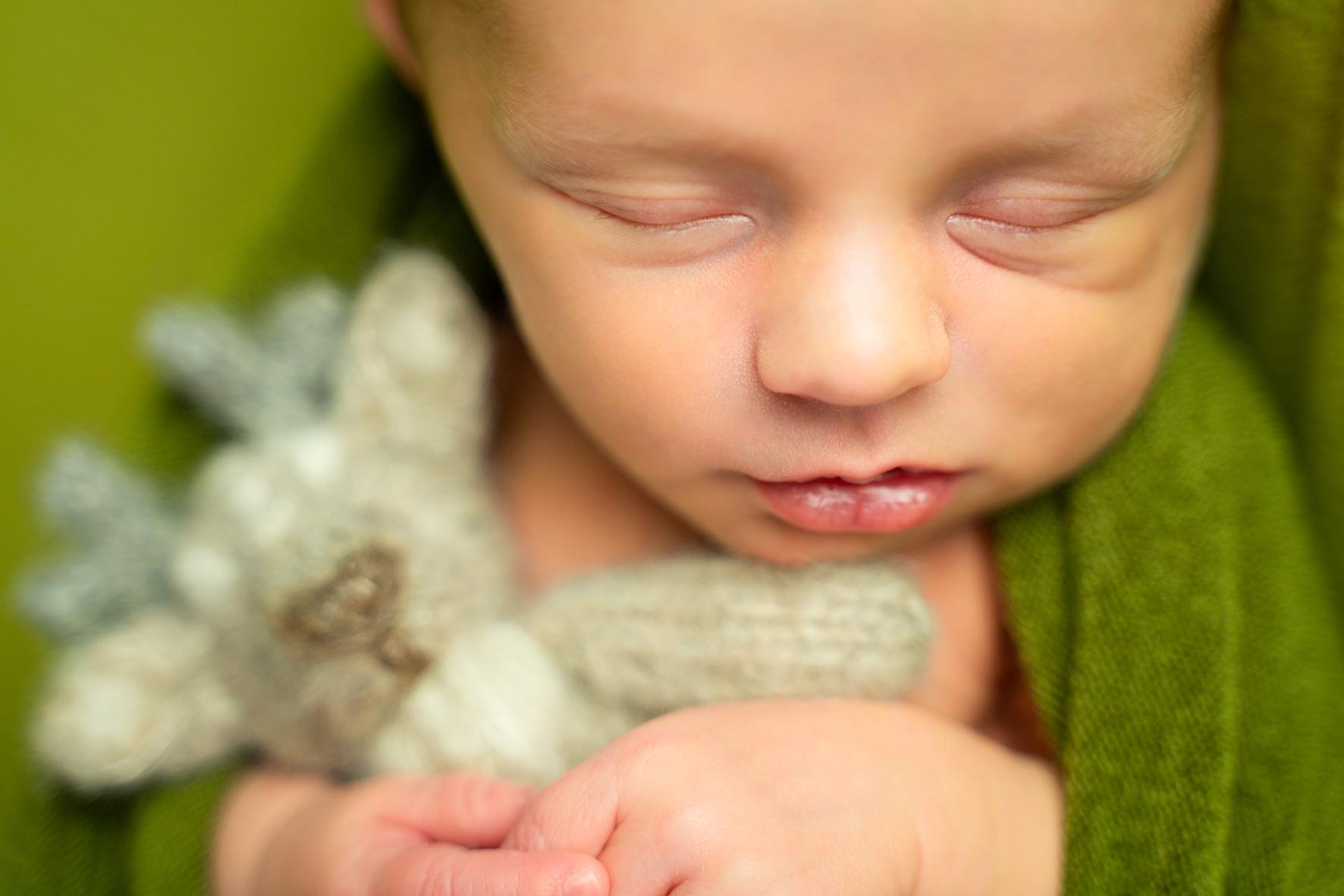 Babyportrait Babyfotos Neugeborenes mit Kuscheltier