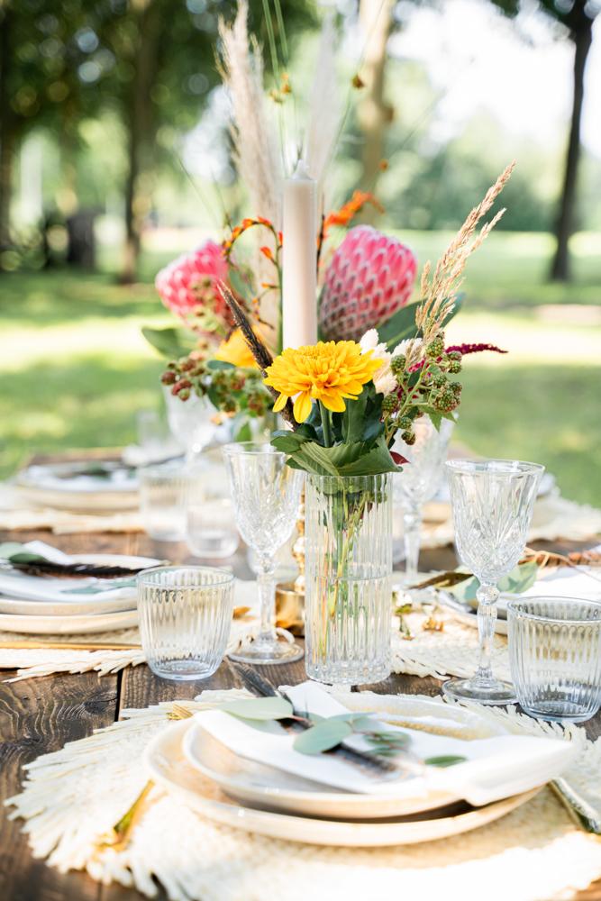 Hochzeitsfotograf Bremen Boho Wedding Tischdecke mit Liebe zum Detail