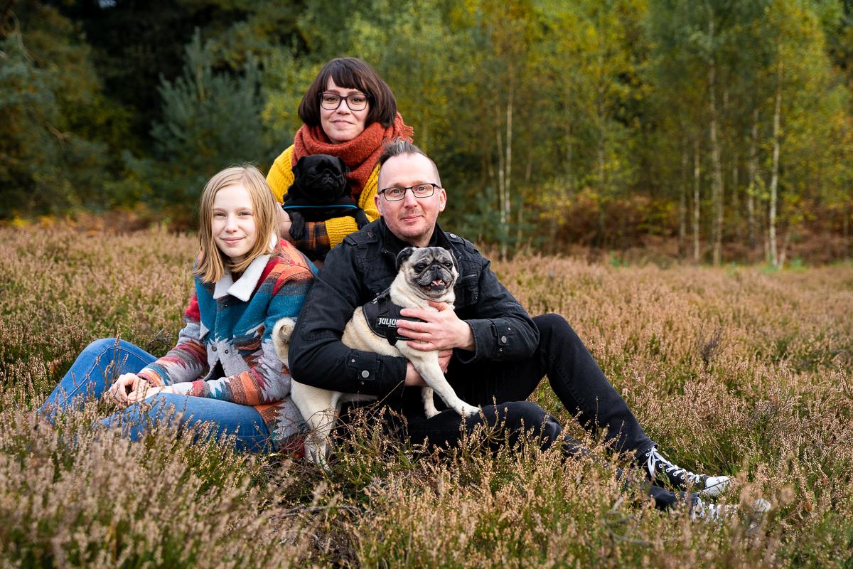 Familienfotos mit Hunden in der Heide Familienportrait Fotografin Bremen