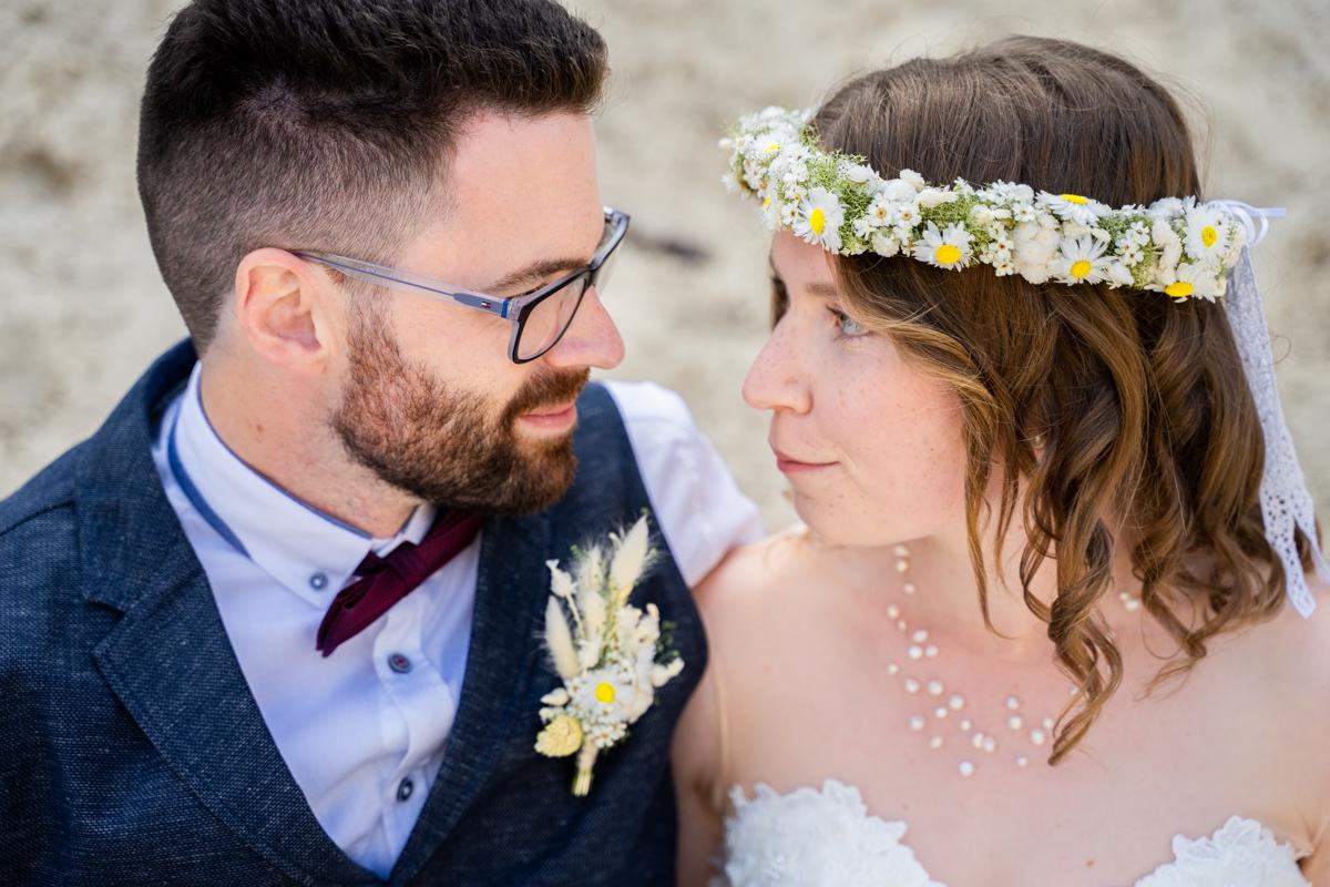 Nahes Portrait vom Brautpaar