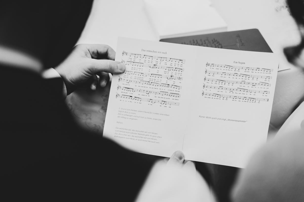 Liederzettel für das Brautpaar