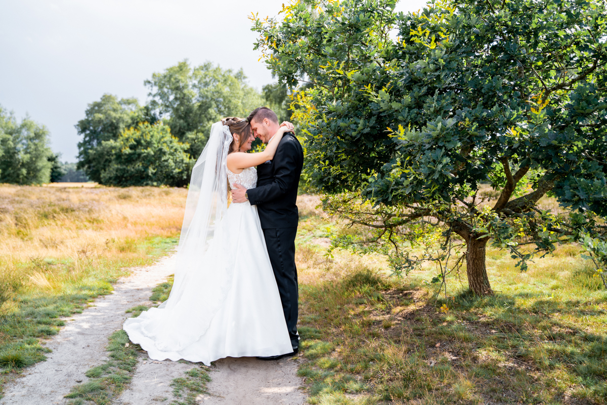 Brautpaar in der Heide Hochzeitsfotografin Bremen Hochzeitsfotos auf den Heidewegen