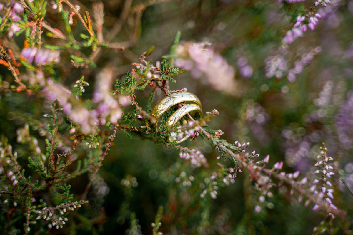 Detailfoto Eheringe Hochzeitsfotografin Bremen Ringe in der Heide