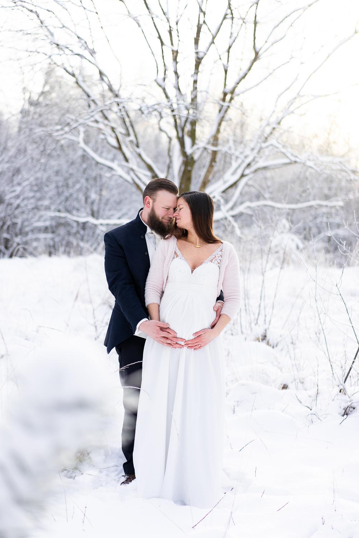 Hochzeitsfotografin Bremen Hochzeitsfotos im Schnee Winterhochzeit in der Heide